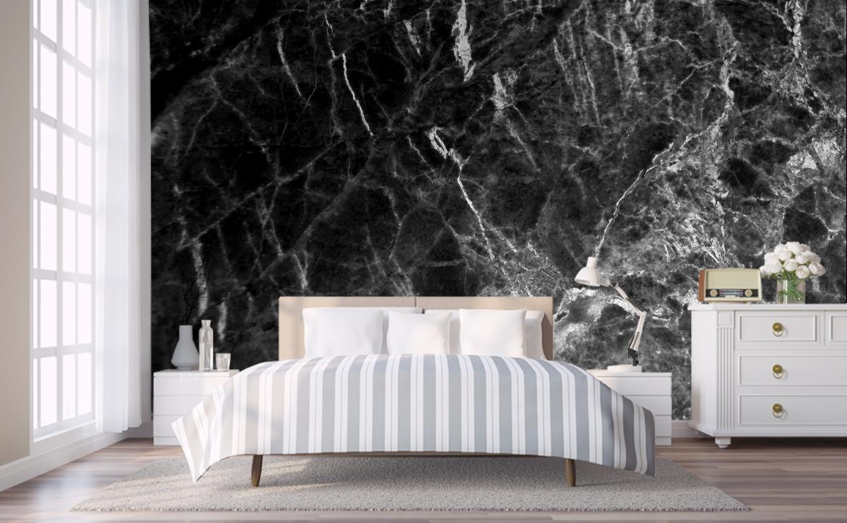 Black Marble Wallpaper Bedroom